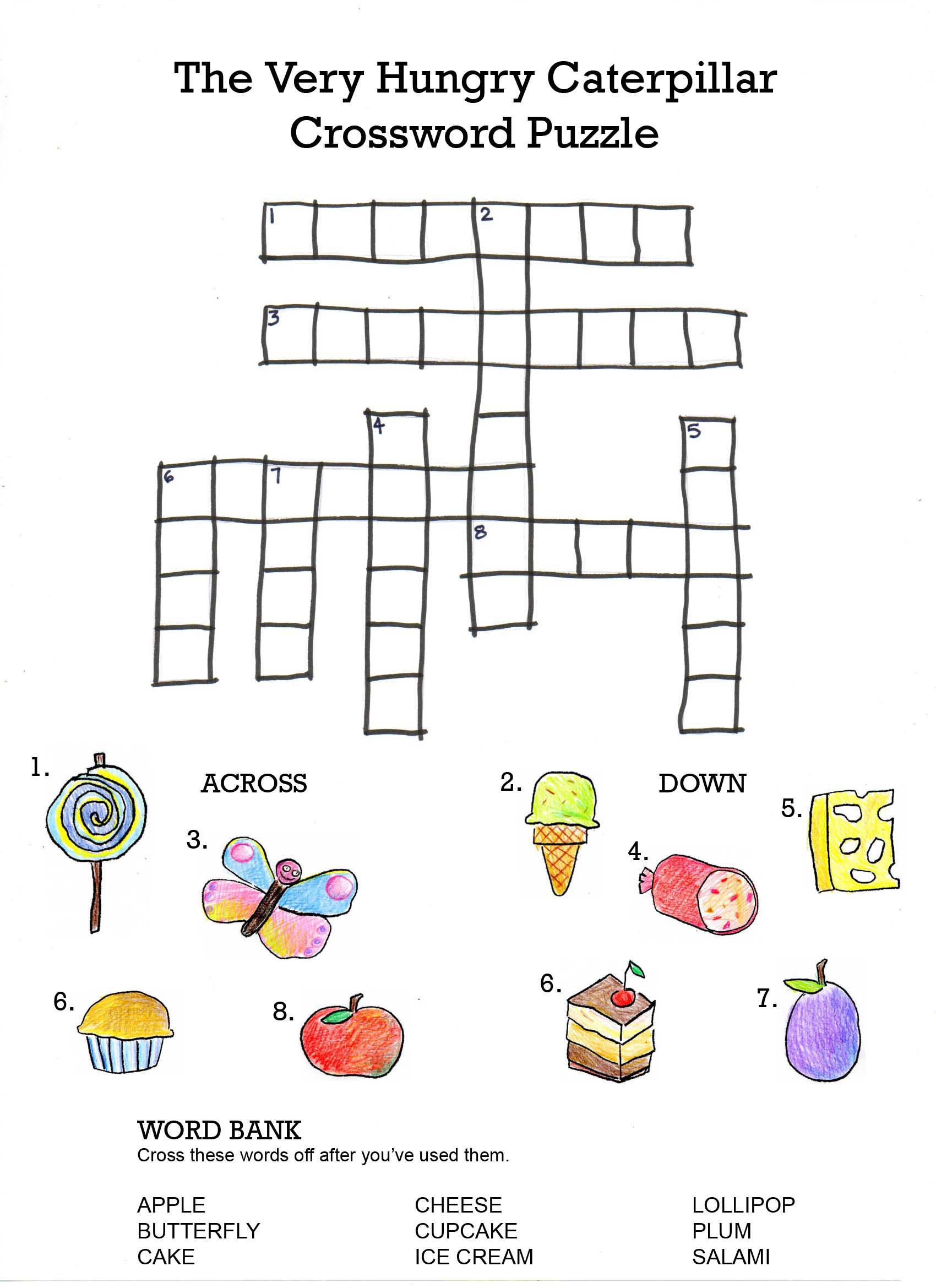 The Very Hungry Caterpillar Crossword on the very hungry caterpillar days of week counting