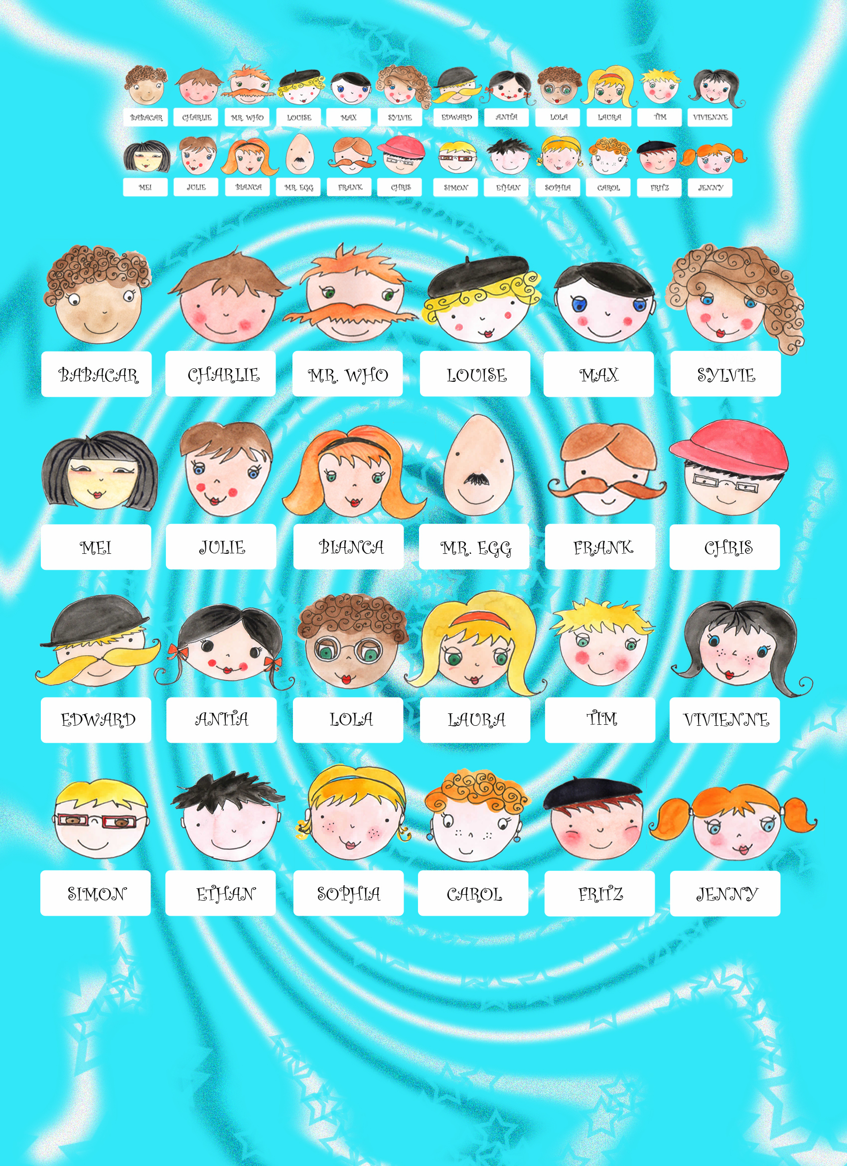 Dramatic image for guess who character sheets printable