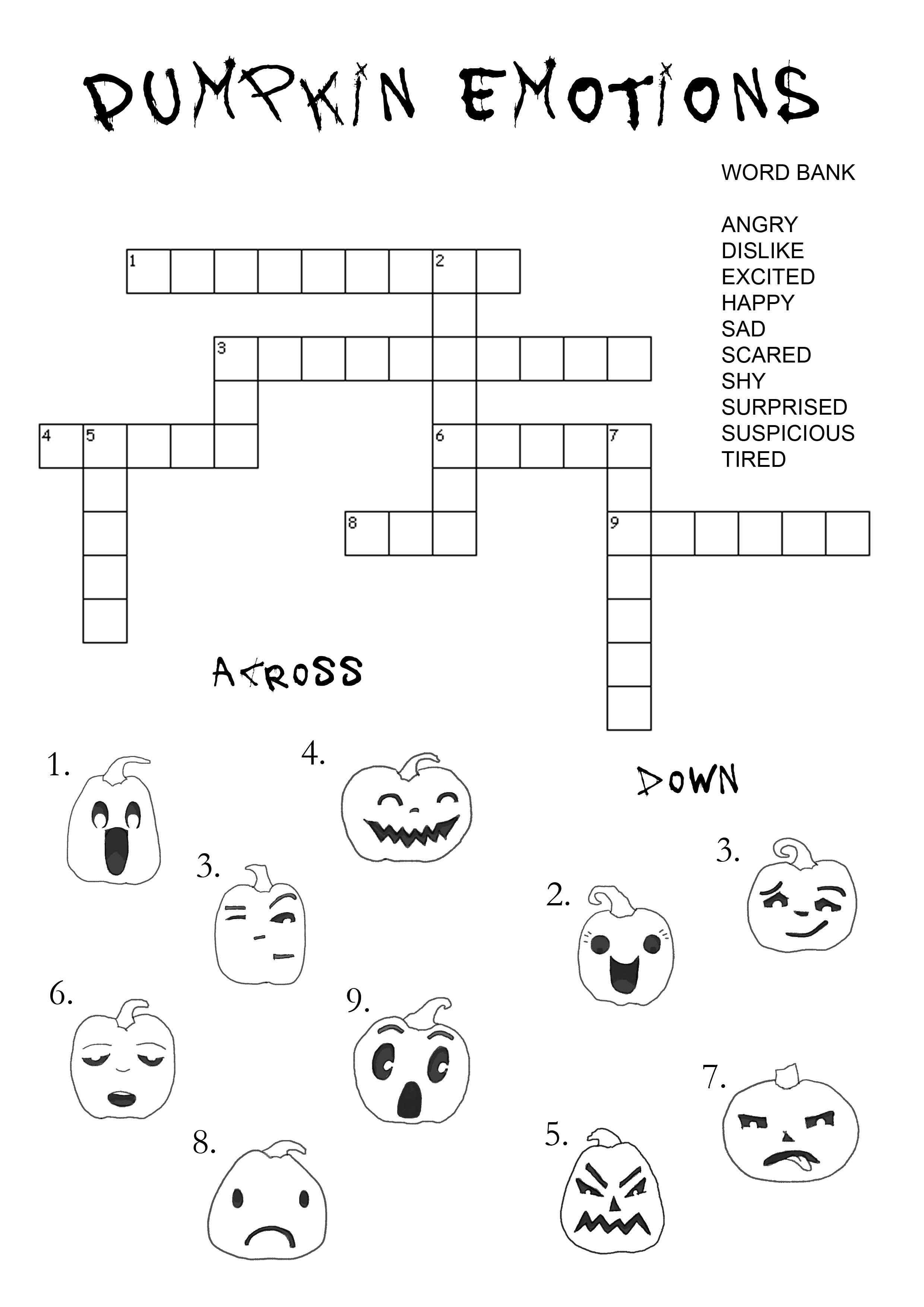 Pumpkin Emotions Crossword Puzzle