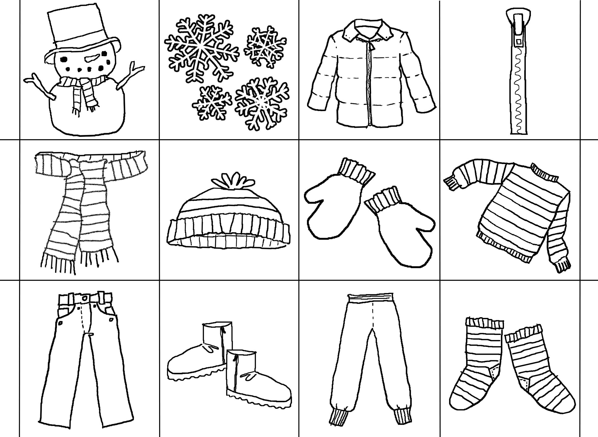 Winter Clothes Printable Worksheets on winter bingo dot worksheets